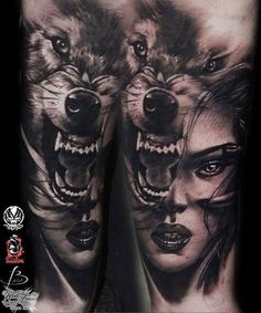 Stunning black and grey piece from Pro Team artist @marekmarastattoo. #worldfamousink #worldfamousforever #tattoo #tattoos #besttattoos #amazingink #tattooink #blackandgrey #blackandgreytattoo #wolf #girl #portrait #animal #animaltattoo #wolftattoo by worldfamousink: