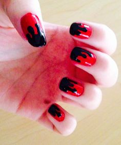 Emo Nails Nail Art Back Red