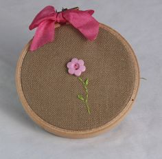 Embroidery hoop art, 3 inch, flowers,  flower buttons, hand embroiderey. $8.00, via Etsy.