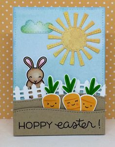 Ingredients: Hoppy Easter, Rooting for You, Spring Showers, Little Picket Fence Border, Stitched Hilside Borders, Large Stitched 4 Bar Rectangles, and Watercolor Wishes 6X6 Petite Pack. All items listed are by Lawn Fawn