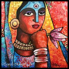 Lotus Painting, Texture Painting On Canvas, Acrylic Painting Canvas, Painting & Drawing, Canvas Art, Madhubani Art, Madhubani Painting, Krishna Painting, Krishna Art