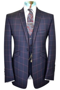 Navy blue three piece peak lapel suit with red and white windowpane check Blue Check Suit, Navy Blue Suit, Blue Suits, Tweed Suits, Mens Suits, Blue Three Piece Suit, Best Wedding Suits, Windowpane Suit, Suit Combinations