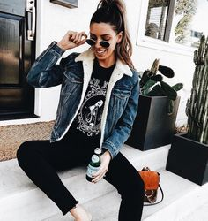 I love lambswool denim jackets, this one paired with a punk top, ripped jeans and sneakers is a great look!   Stylish outfit ideas for women who follow fashion.