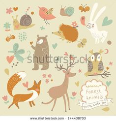 Vector set of cute wild animals in the forest: fox, bear, hedgehog, rabbit, snail, deer, owl, bird, mouse. Vintage set. by smilewithjul, via ShutterStock