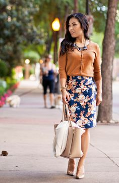 cute & little | petite fashion blog | gap bronze ochre cardigan, j.crew antique floral skirt, flower statement necklace | spring outfit