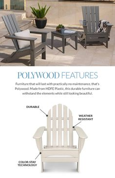 Shop our Polywood collection for eco-friendly, recycled milk jug furniture. Choose from Adirondack and rocking chairs for the best low-maintenance furniture. Polywood Outdoor Furniture, Outdoor Furniture Sets, Outdoor Dining Set, Outdoor Decor, Plastic Lumber, Adirondack Chairs, Rocking Chair, Beach House, Free Shipping
