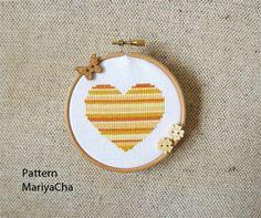 Little gold Heart cross stitch pattern needlepoint by LaMariaCha