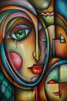 Look Two Painting by Michael Lang - Look Two Fine Art Prints and Posters for Sale Abstract Face Art, Abstract Portrait, Arte Pop, Michael Lang, Pintura Graffiti, Art Visage, Cubism Art, Modern Art Paintings, Fine Art