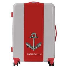Anchors Away Red Luggage - accessories accessory gift idea stylish unique custom