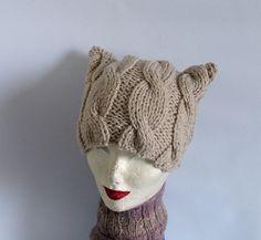 Cat Ear Beanie Cat Hat Cat Beanie Cat Ear Hat Cat by recyclingroom, $25.00