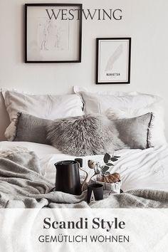 """Genau das können auch Sie erreichen - der Scandi Style überzeugt vor allem mit seiner modernen Funktionalität ohne dabei auf Stil zu verzichten. Die Schweden schaffen es einfach immer wieder, die goldene Mitte zu finden und sind uns hier wirklich einen großen Schritt voraus. Kein Wunder! Schließlich leben die Schweden nach dem """"Lagom""""-Prinzip. Egal was, es ist immer genau richtig. // #scandi #schlafzimmer #grau #interior #inspiration Bedroom Goals, Decoration, Zen, Blanket, Modern, Bedroom Inspiration, Home Decor, Preppy Dorm Room, Yurts"""