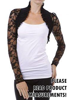 5583a8e978c Womens Plus Size Long Sleeve Lace Bolero Shrug Stretch Cropped Sweater 3X  Black