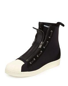 Pro Men's Zip-Front High-Top Sneaker, Black/White - Y-3