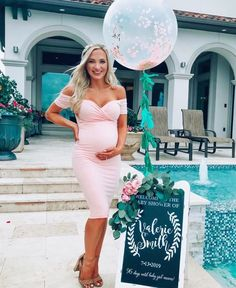 Sweetheart Baby Shower Dress with Short Sleeves - Sexy Mama Maternity - Pink Baby Shower Dress Let's talk PINK! Pink is one of the most common color theme's for baby - Maternity Dresses For Baby Shower, Maternity Gowns, Maternity Fashion, Maternity Styles, Pregnancy Fashion, Pink Baby Shower Dress, Baby Dress, Pink Dress, Cute Baby Shower Dresses