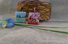 Hand embroidery pendant  Claude Monet's miniatures от MoeraeCrafts