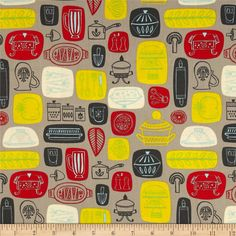 What's Cooking Kitchen Grey from @fabricdotcom  Designed by Allison Cole for Camelot Fabrics, this cotton print fabric is perfect for quilting, apparel and home decor accents. Colors include taupe, cream, yellow, red, blue and charcoal.