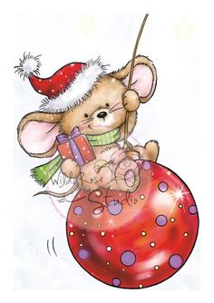 Christmas Mouse Ornament Clear Unmounted Rubber Stamp Wild Rose Studio New Christmas Owls, Christmas Drawing, Christmas Paintings, Christmas Pictures, Vintage Christmas, Christmas Crafts, Christmas Ornaments, Christmas Graphics, Christmas Clipart