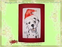 Hunde - Einzelstück Grußkarte handgemaltDalamtiner im Weihnachtsstimmung - ein Designerstück von wandklex bei DaWandaPostkarte mal anders;  handgemalte Karten - geht übrigens auch nach Ihrem Foto :-) Alles zu haben im kleinen Klexshop auf DaWanda unter http://de.dawanda.com/shop/wandklex (einzeln handgemalte Karten, auch mit Valentinstagsgruß, Spruch, Blümchen, Herzen, Weihnachtsmützen ;-) )  Jede Karte ein Unikat, alle Tierrassen und auch Personen möglich, auch Kleinserien.