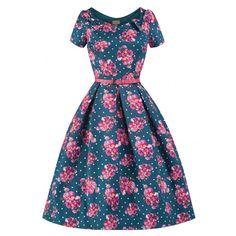 Belina Blue Floral Swing Dress | Vintage Inspired Fashion - Lindy Bop