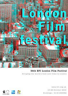 London Film Festival 2010 Film Festival Poster, London Film Festival, London Films, Film Reels, Movie Posters, Graphics, Graphic Design, Film Poster, Printmaking