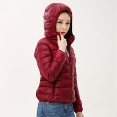 women ultra light down jacket hooded winter duck down jackets ...