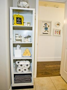 Storage! Fleamarket bathroom metal cabinet: remove the doors, spray paint, then  secure to  wall vertically