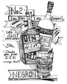 """#NegroniWeek - Negroni Cocktail, recipe illustration, 5x7"""" by KloRebel $4 of each print sold goes towards the PGH Rainbow Kitchen Charity (or Charity of your choice, out of towners ; ) Drink and Have Art for your cause! (Original is for sale too!)"""