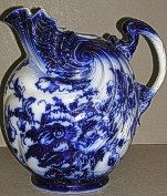 """A very large Flow Blue unmarked Doulton Shell Scalloped edge shaped Toilet Jug, measuring 11.5"""" high by 11"""" wide (unfortunately no basin to match!) Flow Blue China, Blue And White China, Love Blue, Dark Blue, Delft, Blue Dishes, White Dishes, Chinoiserie, Blue Pottery"""