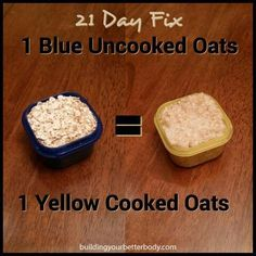 21 Day Fix Container conversion for uncooked to cooked oats. Doing the 21 Day Fix without the benefit of a challenge group? Email me at mailto:sandirides@gmail.com for information on joining my next group!