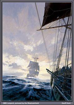 HMS Leopard, pursued by Waakzamheid by Geoff Hunt
