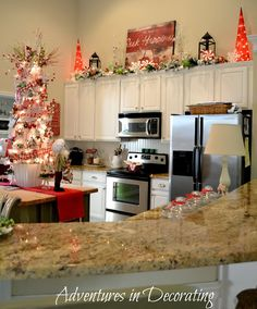 Christmas Garland Above Kitchen Cabinets