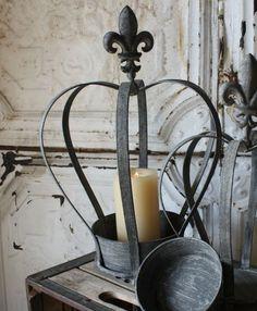 """18"""" Large Metal Fleur de Lis Crown Planter Candleholder $35"""