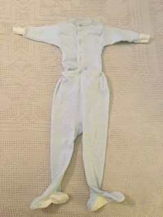 Vintage Blue Striped Footed Pajamas Baby 1960's 2 piece by BlowingMilkBubbles on Etsy