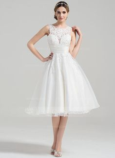 [US$ 155.99] A-Line/Princess Scoop Neck Knee-Length Organza Wedding Dress With Ruffle Beading Appliques Lace Sequins