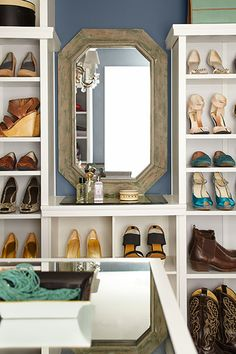 Not all shoes are display-worthy, so allow space for boxes or baskets to hold out-of-season or less-used footwear. Bookcases: Home Decorators Collection