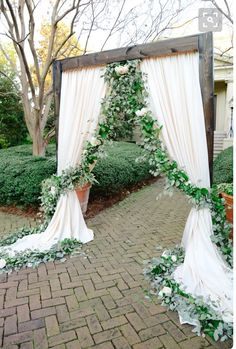Floral Garland + Ivory Draping Wedding Ceremony Ideas Venue: Ships of the Mariti., Floral Garland + Ivory Draping Wedding Ceremony Ideas Venue: Ships of the Mariti. Wedding Arch Rustic, Wedding Ceremony Flowers, Outdoor Wedding Decorations, Wedding Ceremony Decorations, Wedding Ideas, Aisle Decorations, Aisle Flowers, Backdrop Wedding, Wedding Ceremonies