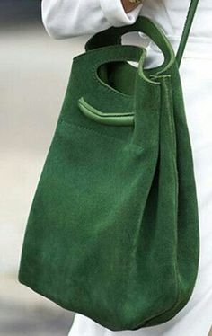 Green leather bag, F&I Purses And Handbags, Leather Handbags, Leather Tote Bags, Leather Backpacks, Green Bag, Green Leather, Green Suede, Beautiful Bags, Leather Working