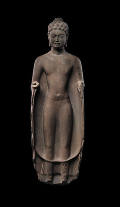 The earliest Buddhist inscribed steles in Southeast Asia were found on the Malay Peninsula in the river valleys of Kedah that served as trading and transshipment centers. | Buddha, mid-7th century. Southern Cambodia. Gift of Florence and Herbert Irving, 1993 (1993.477.3) #LostKingdoms