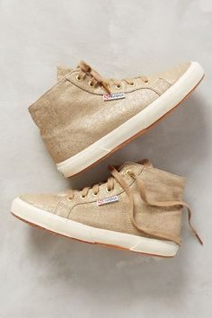 e79ad46bee5 Superga Women s Metallic Gold Shimmer Linen Hi-Top Sneaker