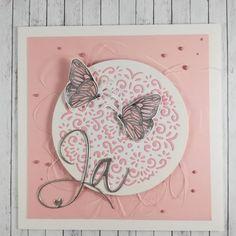 Zarte Karte... #alexandrarenke #wowembossingpowder #ja #hochzeitskarten #geburtskarten #struckturpaste #mundartstempel #mundart_stempel… Card Wedding