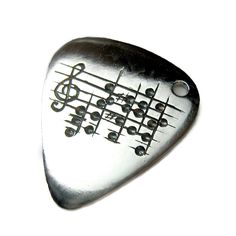 Your Song Guitar Pick Necklace - Custom Engraved Notes to Your Choice of Song