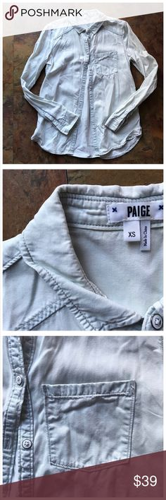 PAIGE Denim Women's Button Down Shirt ✨ mint condition and preowned. Worn once, dry cleaned and stored.  Size XS. PAIGE Tops Button Down Shirts
