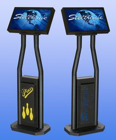 Here is an image of two bowler console touch screen monitors from Steltronic and how they would look in your bowling center. The custom logo and custom color panels can be designed specifically to use your logo.