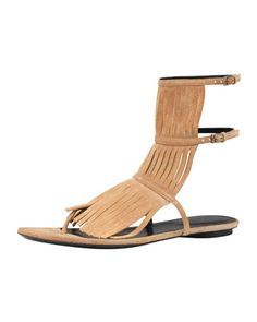 Becky Fringe Thong Sandal, Camelia by Gucci at Neiman Marcus.