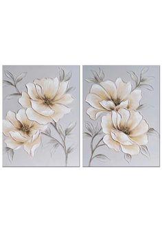 Pareja de cuadros vertical en lienzo con imagen de flores decorado con pedrería de brillo en el centro de las flores. Fondo color beige grisaceo con flores color beige y blanco, tallos y hojas color marrón. Medidas :70 cm del alto x 50 cm de ancho x 3 cm de fondo. Colócalo en el pasillo, subida de escalera, salón, sala de estar, comercio... ENVIO GRATIS EN 24H, entra y echale un vistazo en nuestra pagina web. Acrylic Painting Flowers, Acrylic Painting Techniques, Acrylic Art, House Paint Color Combination, Art N Craft, Mural Wall Art, Ink Art, Painting Inspiration, Flower Art