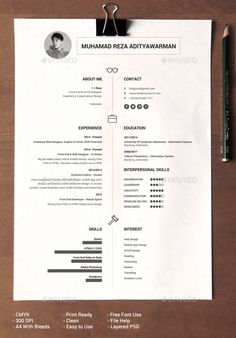 Clean Resume by BdgPixel Clean, simple design, black & white, and elegant for creatives designer, professional developers and others. All layers can be cha