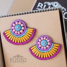 Fan earring Stylish colorful beaded embroidered earrings Orange pink turquoise massive earring Tribal women fashion Ethnic pattern accessory by BusikoUA on Etsy