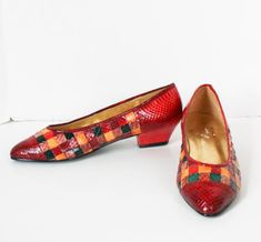 2f19b2e380a Vintage Cervelle Snake Skin Shoes Checks Red Green Yellow Brown 1980s