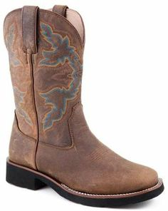 Roper Western Boots Womens Classic Square Toe Riderlite2 Brown