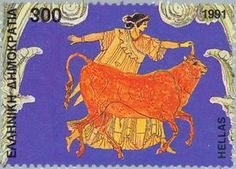 Stamp: Europa and Zeus disguised as a bull (Greece) (Greek Presidency of CEPT) Mi:GR Casket, Greek Mythology, Postage Stamps, Presidents, Moose Art, Culture, History, Andorra, Gallery